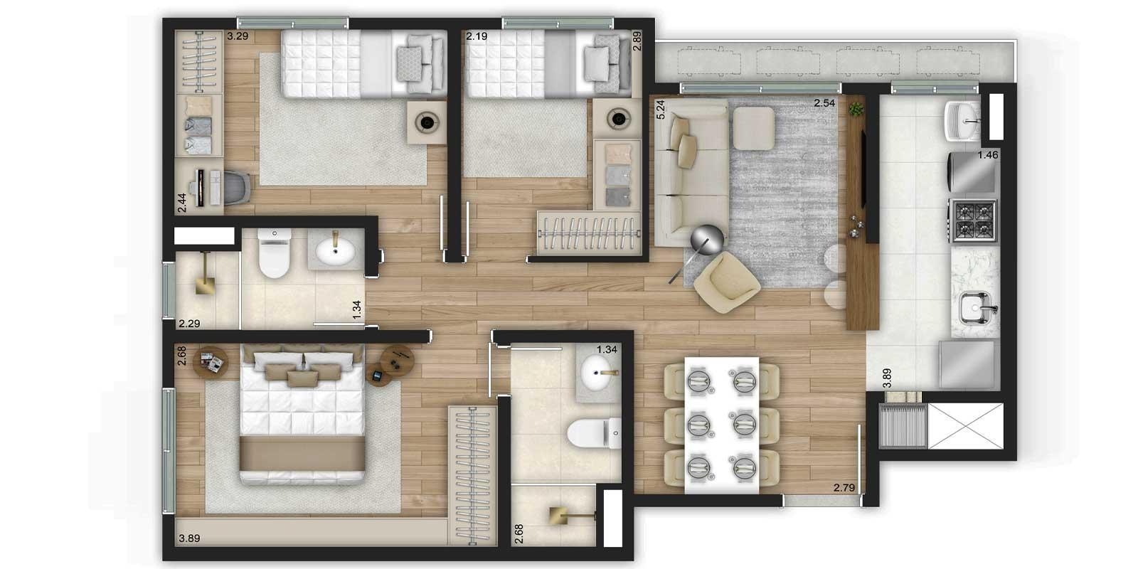 TPS Imóveis - Veja Foto 30 de 32 do Apartamentos de 2 e 3 dormitórios com suíte