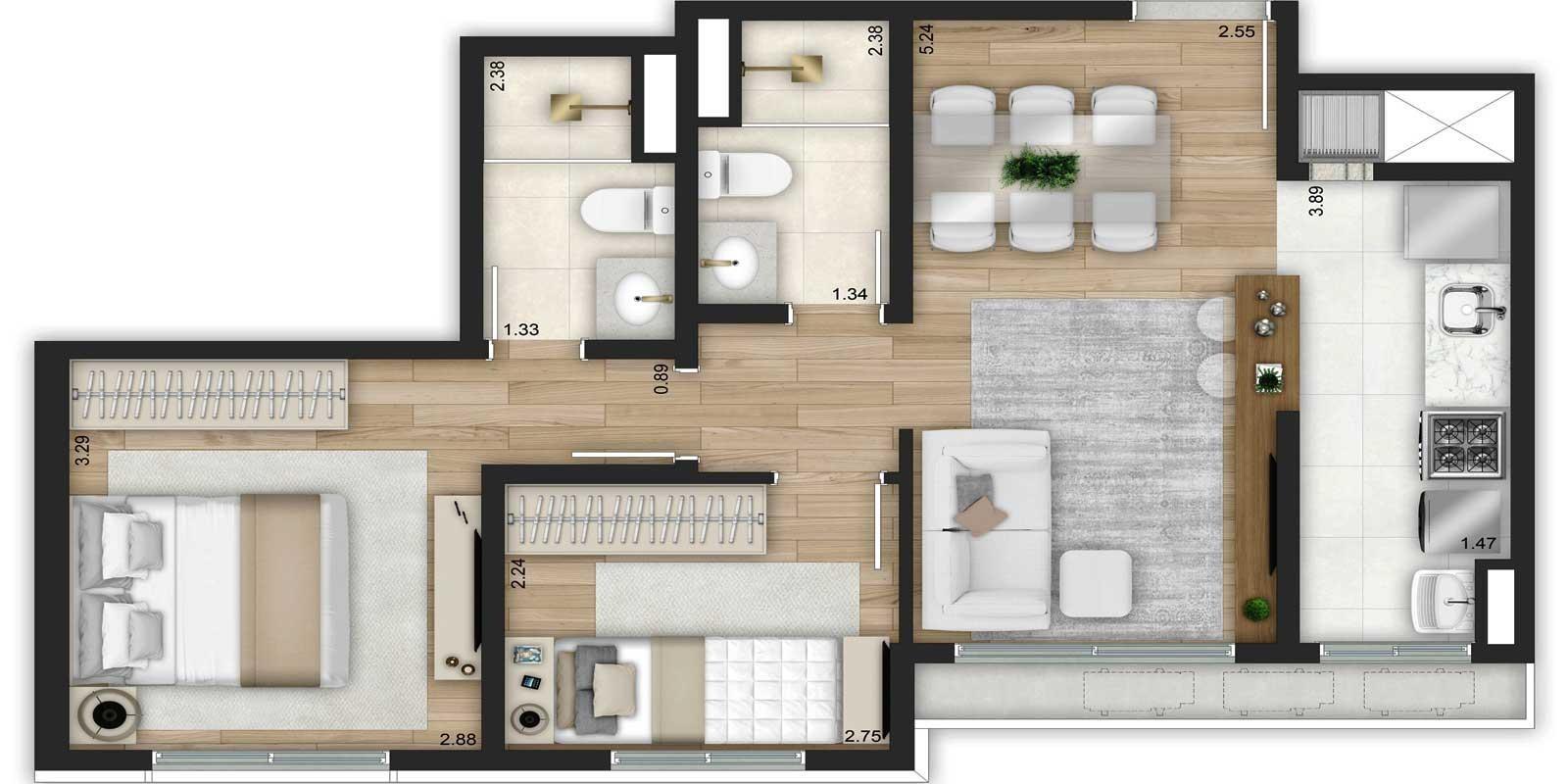 TPS Imóveis - Veja Foto 27 de 32 do Apartamentos de 2 e 3 dormitórios com suíte