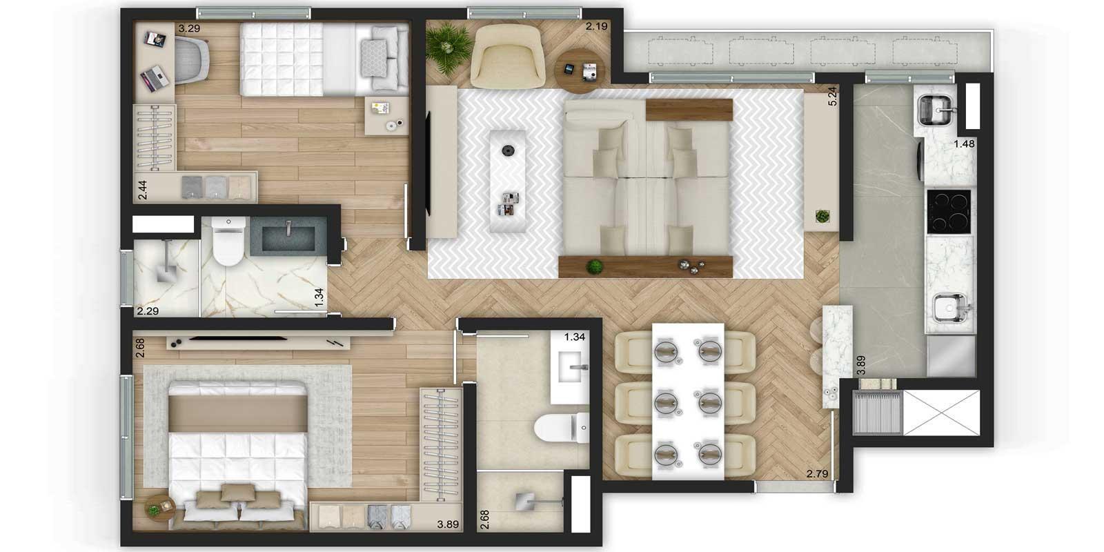 TPS Imóveis - Veja Foto 29 de 32 do Apartamentos de 2 e 3 dormitórios com suíte