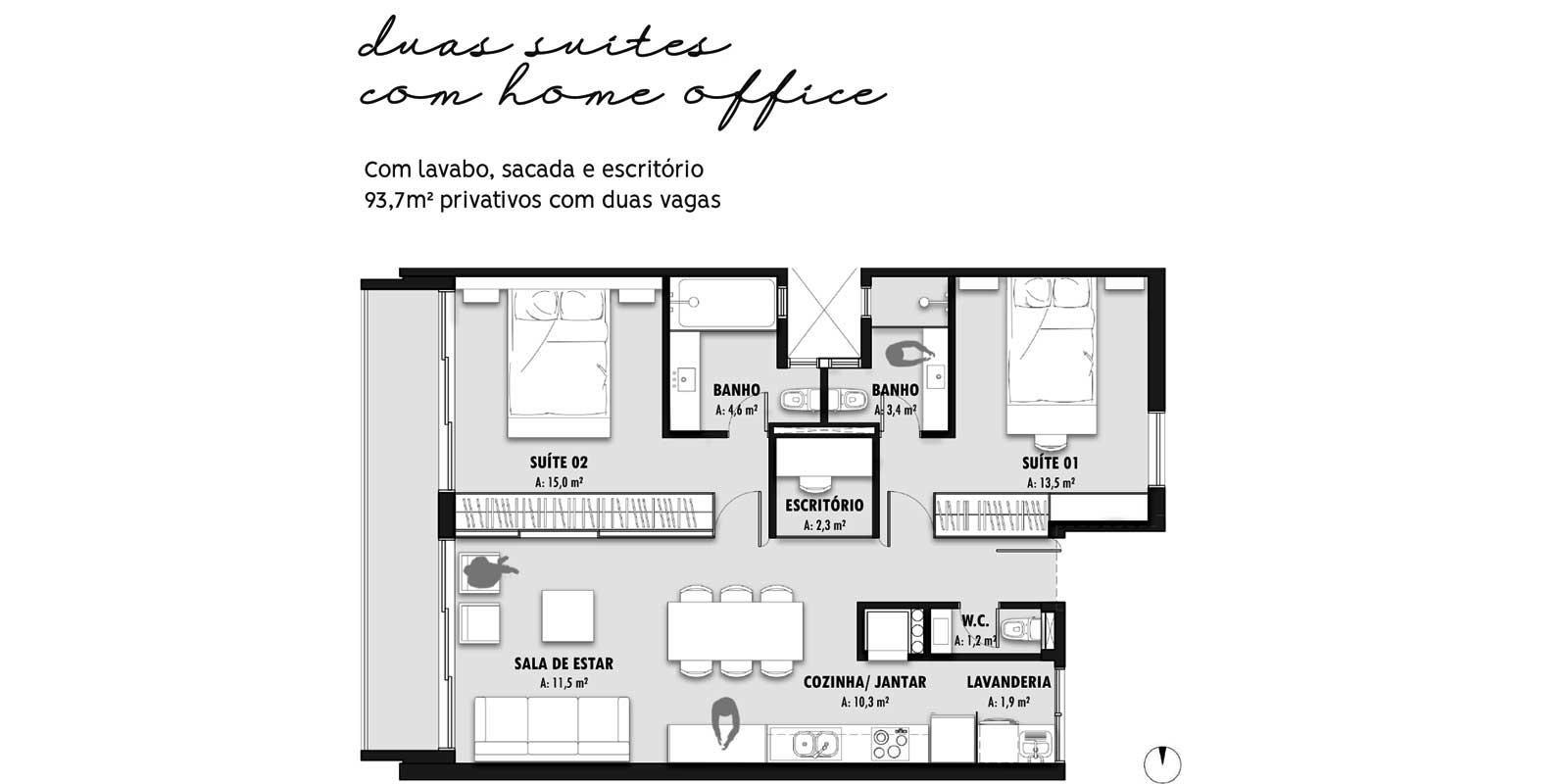 TPS Imóveis - Veja Foto 13 de 20 do Apartamentos com 1 ou 2 suítes com piscina na cobertura
