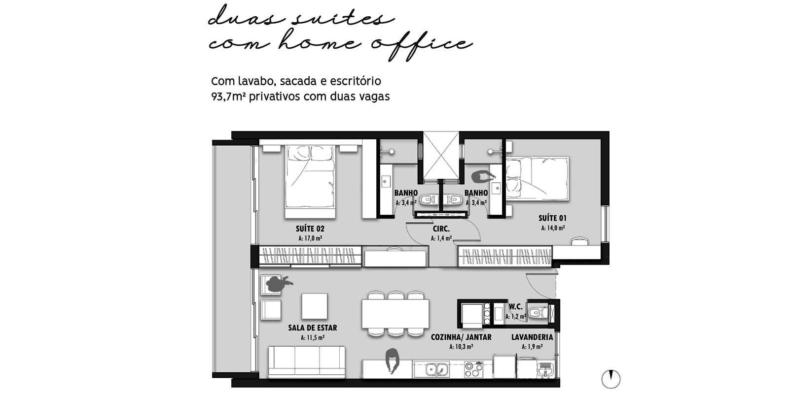 TPS Imóveis - Veja Foto 14 de 20 do Apartamentos com 1 ou 2 suítes com piscina na cobertura
